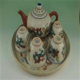 粉彩瓷器盘子,茶壶,杯子(6件)