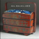 清代漆器(带青花瓷盖)多格食盒