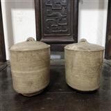 美品战国原始青瓷桶形盖罐1对