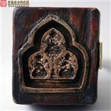 清代极细工珍藏级藏传佛教老紫铜嵌木无量寿佛菩萨擦擦印模