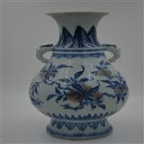 大清雍正年青花釉里红多子象耳赏瓶,雍正精品