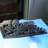 双面龙纹花纹木雕两件