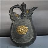 锡 鎏金 花纹 壶